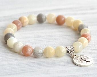 Gemstone bracelet|Gift|for her|tree of life pendant|rainbow beads bracelet|women's bracelet