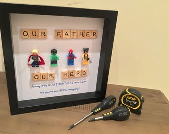 My Dad Is My Hero LEGO Figures Picture Frame, Perfect for a Gift!