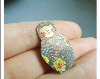 "Brass brooch "" The Matrioshka"""
