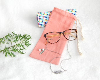 Pouch for glasses case, storage case, cord, bezel, fabric clutch bag, colorful clutch purse coral, pink