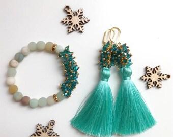 Natural Gemstone Bracelet, Crystal Earrings, Crystal Bracelet, Tassel Earrings, Rose Quartz bracelet, Amazonite bracelet, Turquise earrings