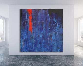 Large Blue and Red Abstract Painting/ Modern Art / Oversized Blue Art  / Art for Men / Art for Him / Blue Painting / Large Blue Abstract Art