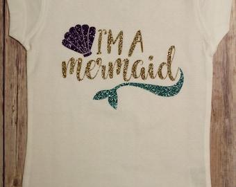 I'm A Mermaid Shirt, I'm A Mermaid, Glitter Mermaid Shirt, Mermaid Shirt, Mermaid