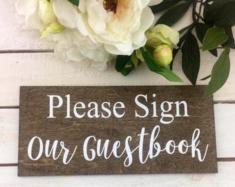 "Please Sign Our Guestbook Sign-12""x 5.5"" Country Chic Please Sign Our Guestbook Wood Sign-Guestbook Sign Rustic Wood Sign-"