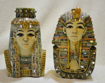 Cleopatra and Mark Antony Mosaic Figurines