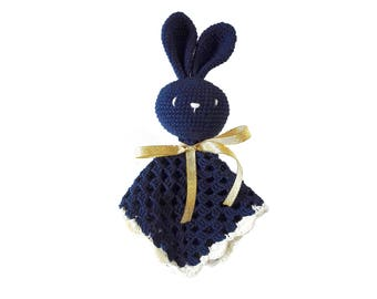 READY TO SHIP: Handmade security blanket bunny rabbit amigurumi
