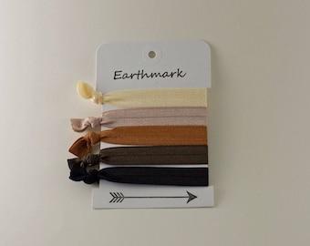 Earth Tone 2 Hair ties 5-pack | Fold Over Elastic Hair bands | FOE Hairties | No Crease Hairties | Neutral Bracelets | Brown | Tan | Blond