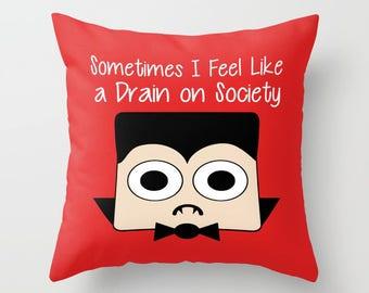 Dracula Pillow, Pillow Cover, Pillow Case, Halloween Pillow, Vampire Pillow, Funny Pillow, Red Pillow, Cute Pillow, LOL Pillow, Humor Pillow