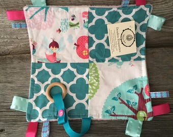 Cuddly toy for baby fairy Fox pink floral polka dot labels turquoise with green or pink minky teething toy