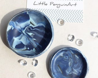 Blue Ring Dish pair,Trinket,Jewellery storage,handmade,personalised gift box,marbled, birthday,teacher,Gifts for her,Gifts for Mum,weddings