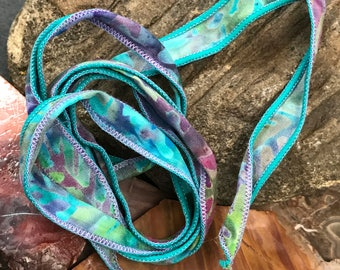 Patterned Hand Dyed Silk Ribbon