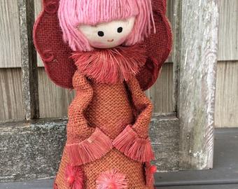 Vintage Shabby Chic Pink Burlap Angel, Christmas Angel, Pink Angel Figurine, Mid Century, Kawaii