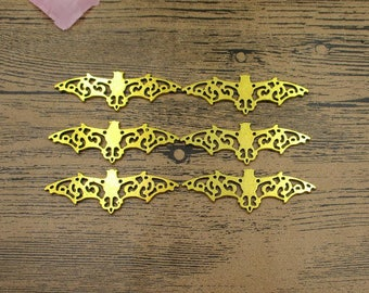 6 Large Bat Charms,Gold Tone Double Sided-RS392