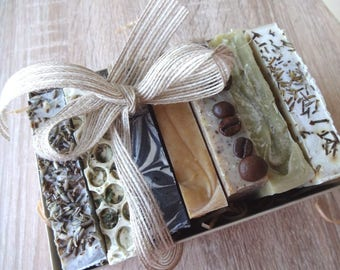 Soap Gift Set, Natural Handmade Soaps, 7 piece, Mother's Day giftset, Present for her, Soap Bundle, Each 100g, Natural Skincare, Spa Gift