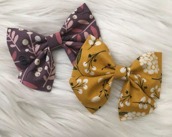 Fall Floral Bows | Floral Bows | Fabric Bows | Sailor Bows | Bow Sets | Bow Bundles | Nylon Headbands | Baby Girl Bows | Bows