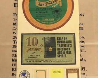 Traveler's Factory 10th Anniversary Sticker Traveler's Notebook Limited Midori Designphil