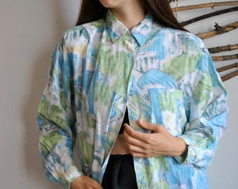Watercolour green blue shirt 1990s 1980s vintage hipster womens 80s long sleeve blouse