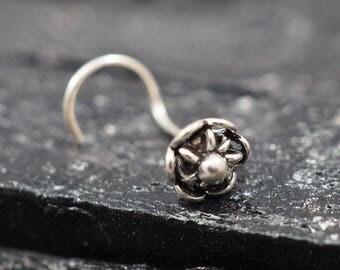 24 gauge, Flower Silver nose screw, nose stud, nose ring
