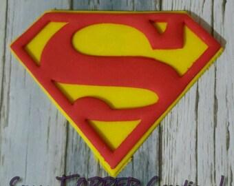 Edible Fondant Superman   10cm Cake Topper Logo, any colours, boys or girls.