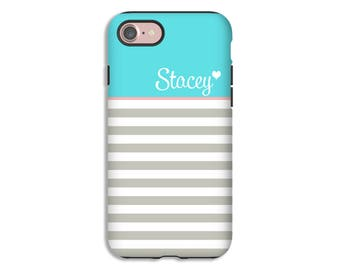 Personalized iPhone 7 case/7 Plus , striped iPhone 6s plus case, iPhone 6s case, iPhone 6 Plus/6 case, 3D case, tiffany blue iPhone case