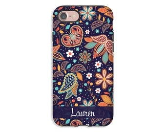 Personalized iPhone 8 case, bohemian iPhone 8 Plus case, ethnic floral iPhone X case, iPhone 7/7 Plus case, iPhone 6s Plus case/6s case