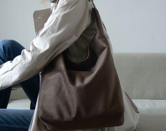 Brown tote bag, brown large bag for autumn