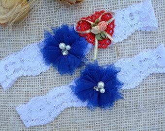 Royal Blue Garter, Bridal Garter Set, Wedding Garter Set, Something Blue Garter, Rosette Garter, Wedding Clothing, Keep Garter, Toss Garter