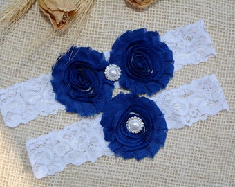 Royal Blue Garter, Pearl Cristal Lace Wedding Garter Set, Something Blue Garter Set, Sapphire Blue Bridal Garter, Cobalt Blue Flower Garter