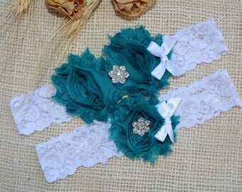 Teal Blue Garter, Unique Bridal Garter, Blue Garter Set, Lace Bridal Garter, Bridal Garters, Handmade Garter, Something Blue, Toss Garter