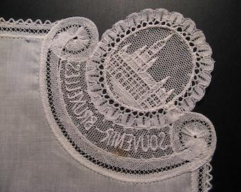 3 x Antique silk handkerchief, Brussels handmade...approx. 1930!