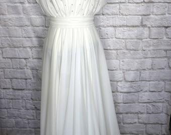 Vintage Lillie Diamond White Sequin Evening Gown, Long White Dress, Evening Dress, Boho Wedding Dress, Beach Wedding, White Formal Dress