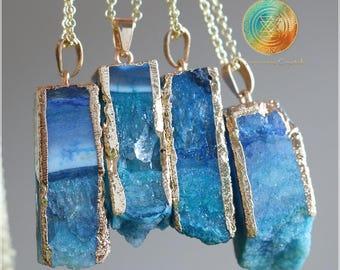 SALE!Agate Druzy necklace, Natural Blue Agate necklace, Druzy necklace, Crystal necklace,Genuine Agate, Blue Agate, Druzy Geode Jewelry