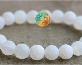 White Agate, 8mm Genuine Dragon Vein Agate bracelet, Matte Frosted beads, Stretch Bracelet, Frosted Dragon's Vein Agate , Harmony & Balance