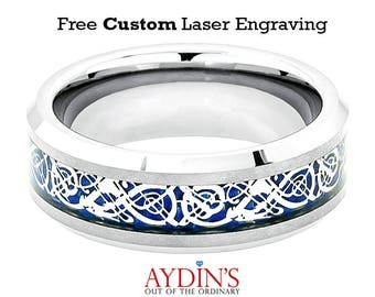 Tungsten Ring Shiny Beveled Edge with Blue Celtic Dragon Cut out Inlay 8mm Tungsten Carbide Wedding Ring