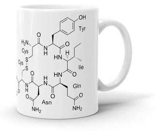 Oxytocin Molecule Coffee Mug - Love Hormone, Neurotransmitter, Chemistry, Schematic, Cool Gift!