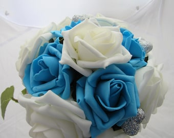 Ivory and turquoise rose posy ideal for a bridesmaid