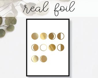 Moon Phases Print // Real Gold Foil // Minimal // Gold Foil Art // Home Decor // Modern Office Print // Typography
