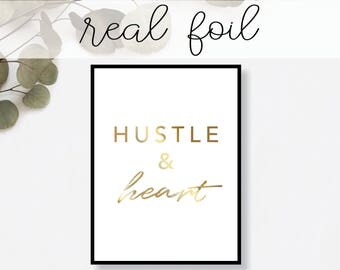Hustle and Heart Print // Real Gold Foil // Minimal // Art // Home Decor // Modern Office Print // Tropical // Fashion Print