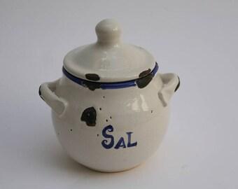 Ceramic salt shaker. Vintage salt shaker. White salt. Terracotta salt. Salt container.