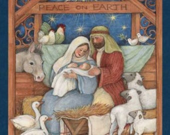 Christmas Fabric, Religious Fabric: Blessed Jesus Birth Scene - Peace on Earth Nativity Panel  100% cotton Fabric by the PANEL  (SC295)