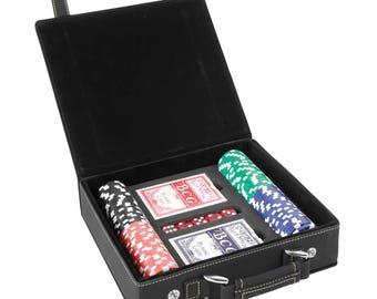 Laser Engraved Leatherette 100 Chip Poker Set