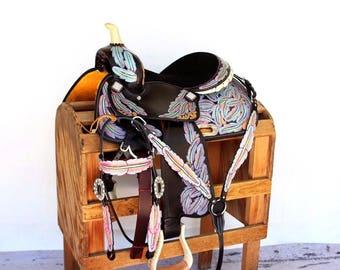 Feather Tooled Western Leather Handmade Trail Horse Barrel Saddle Barrel Racing Bridle Breast Collar Tack Set