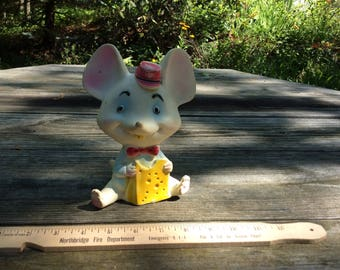 Vintage Mouse with Cheese Rubber Squeak Toy