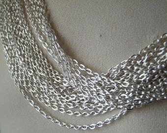 "Cable Chain Necklace, 17"" Silver Plated Finished Necklace Chain with Lobster Clasp, 2mm Wide Silver Plated Flat Cable Chain Necklace"