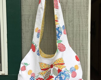 Hobo Bag from Vintage Tablecloth