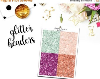 SALE/ BLOOMING Glitter Headers/ Planner Stickers for use with Erin Condren Life Planner/Happy Planner Stickers/Header Sticker Kit/Weekly Kit