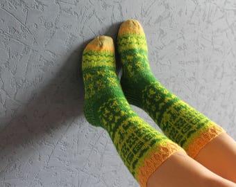 Girls socks Knit knee socks Fairisle socks Boot warmers Knitted home socks Hand knit socks Women socks Knitted wool socks Wool Leg warmers