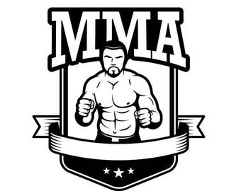 MMA Logo #1 Boxer Gloves Ring Fight Fighting Boxing Ribbon Shield .SVG .EPS Instant Digital Clipart Vector Cricut Cut Cutting Download File