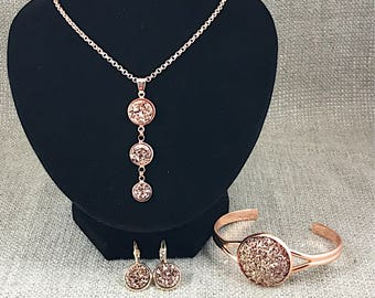 Rose Gold Druzy Jewelry Set - Gift for Mom - Gift for Wife - Girlfriend Gift - Rose Gold - Jewelry - Druzy Necklace - Jewelry Gift Set -