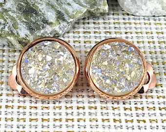 Bride Earrings - Champagne Druzy Clip On Earrings - Clip On Earrings - Non Pierced Earrings - Champagne Clip On Earrings - Wedding Jewelry -